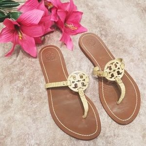 Tory Burch tan snakeskin Mini Miller sandals